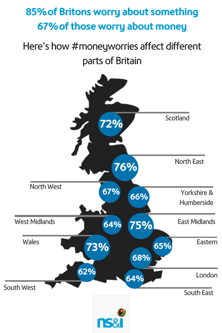 UK regional map of the percentage of people in each area who worry about money